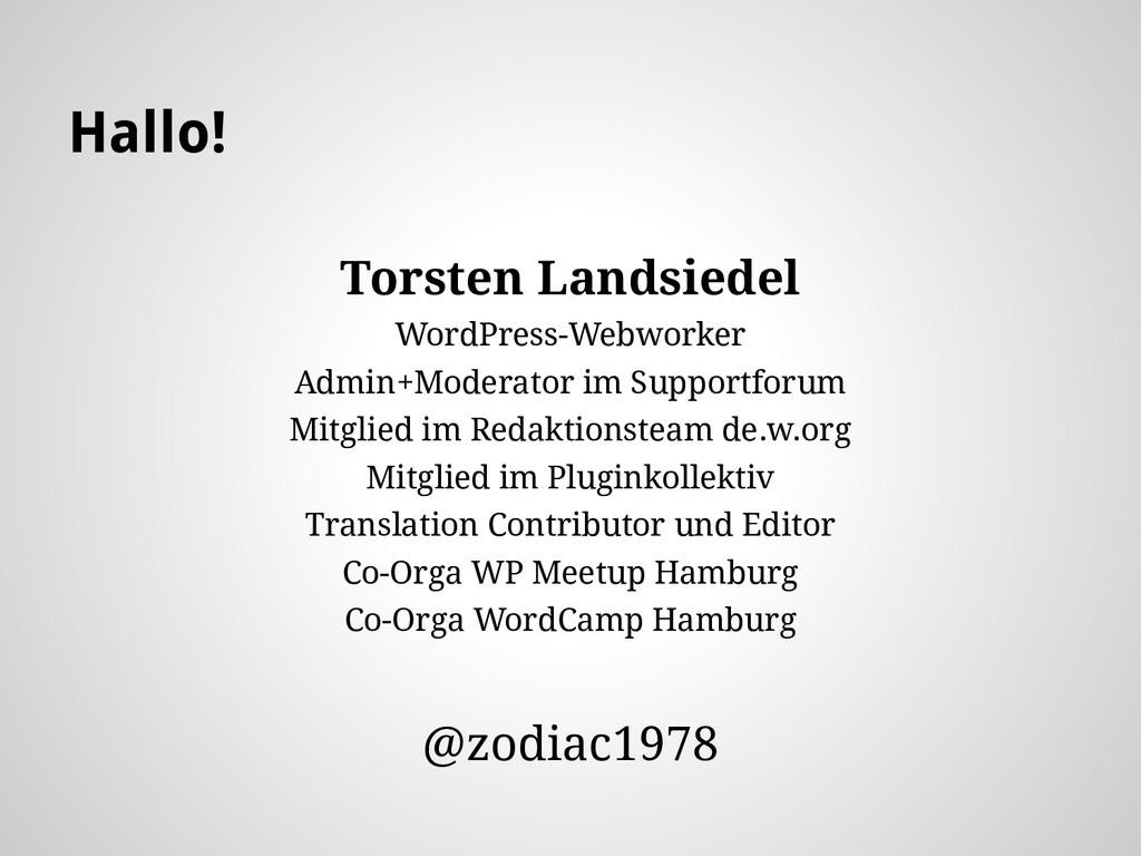 Hallo! Torsten Landsiedel WordPress-Webworker A...
