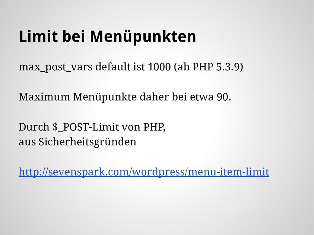 Limit bei Menüpunkten max_post_vars default ist...