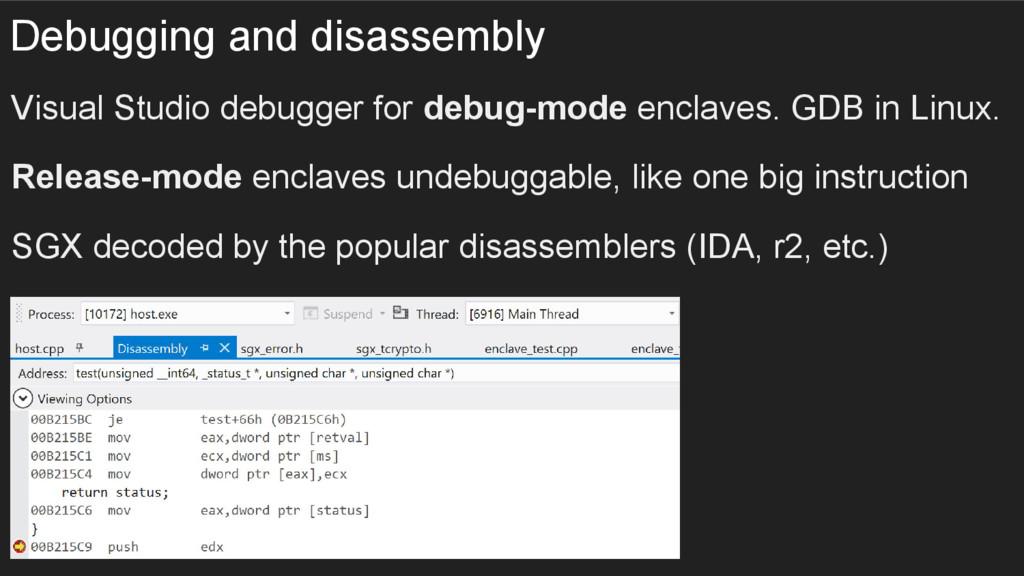 Debugging and disassembly Visual Studio debugge...
