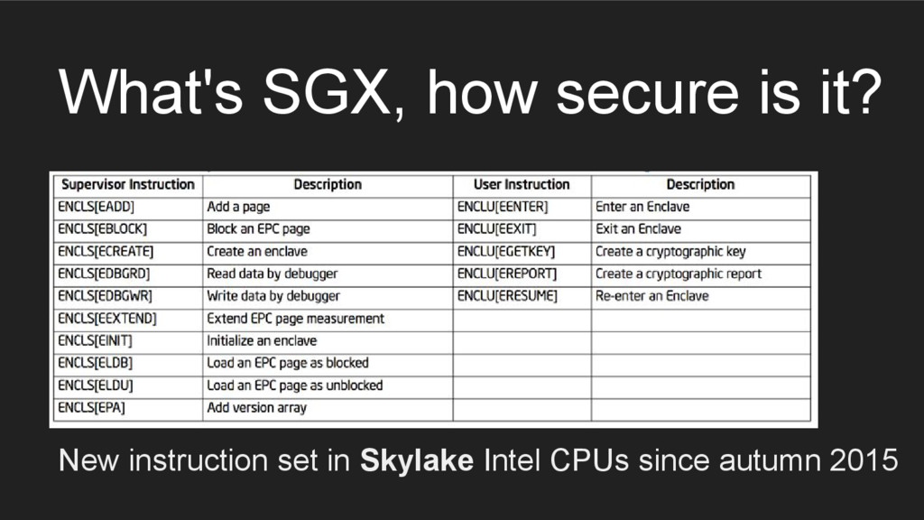What's SGX, how secure is it? New instruction s...