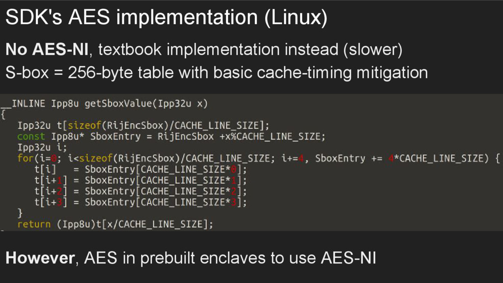 SDK's AES implementation (Linux) No AES-NI, tex...