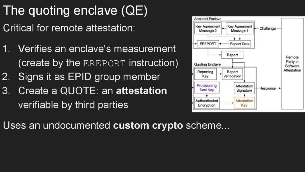The quoting enclave (QE) Critical for remote at...