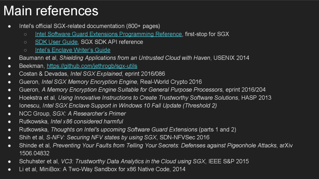 Main references ● Intel's official SGX-related ...