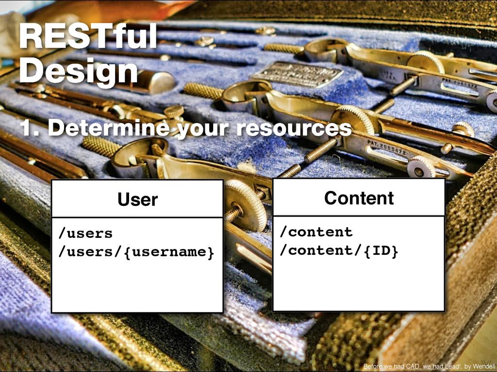 RESTful Design 1. Determine your resources User...