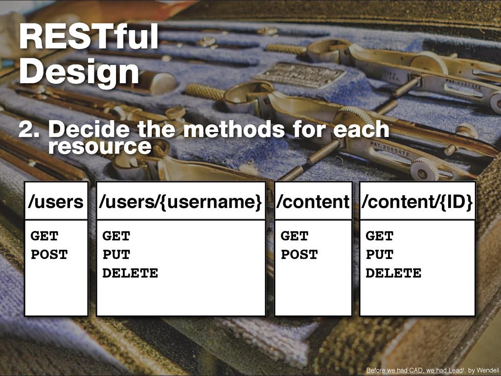 RESTful Design 2. Decide the methods for each r...