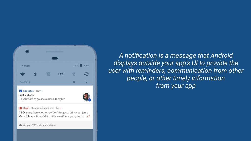 A notification is a message that Android display...