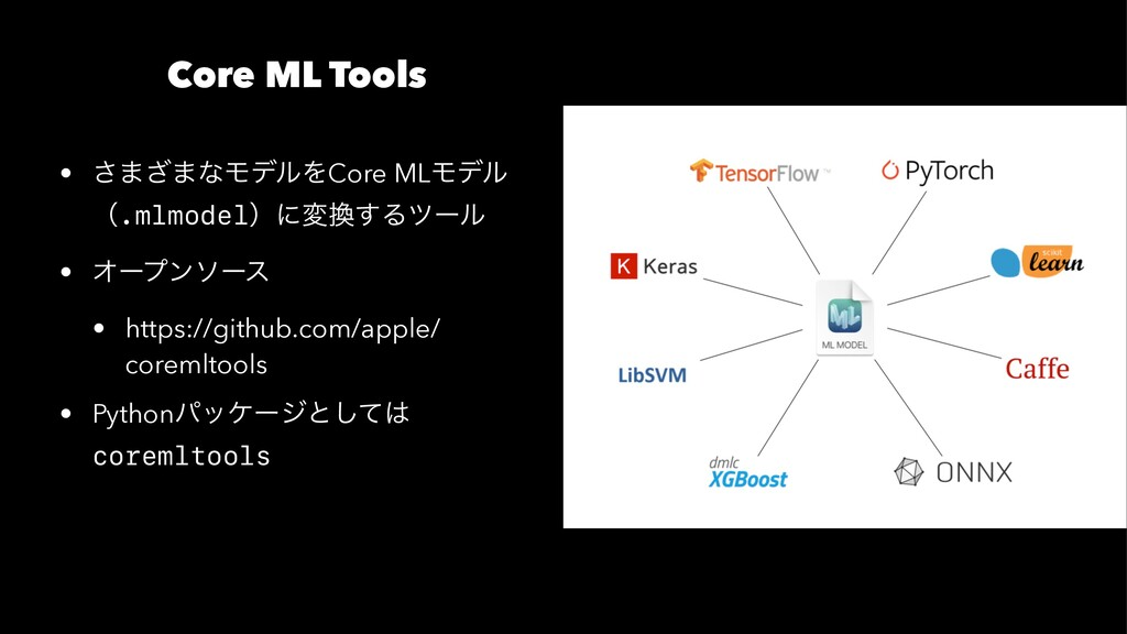 Core ML Tools • ͞·͟·ͳϞσϧΛCore MLϞσϧ ʢ.mlmodelʣʹ...