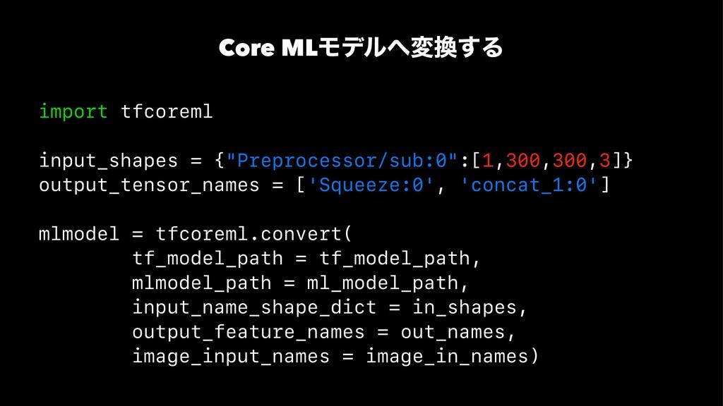 Core MLϞσϧม͢Δ import tfcoreml input_shapes = ...