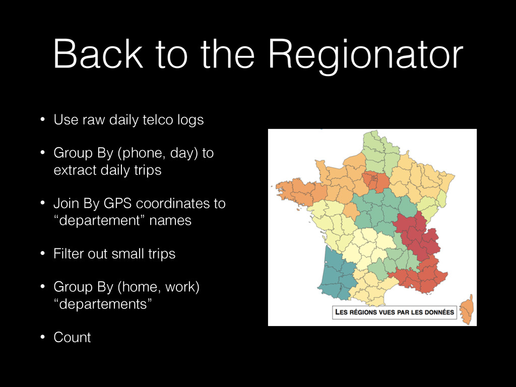 Back to the Regionator • Use raw daily telco lo...