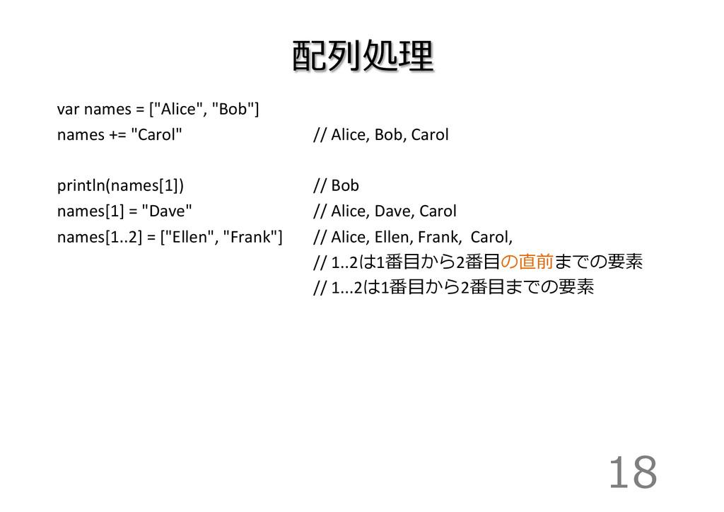 """配列列処理理 var names = [""""Alice"""", """"Bob""""]..."""