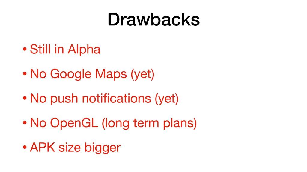 Drawbacks •Still in Alpha  •No Google Maps (yet...
