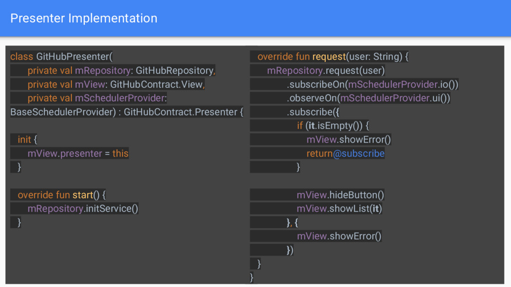 Presenter Implementation 19 class GitHubPresent...