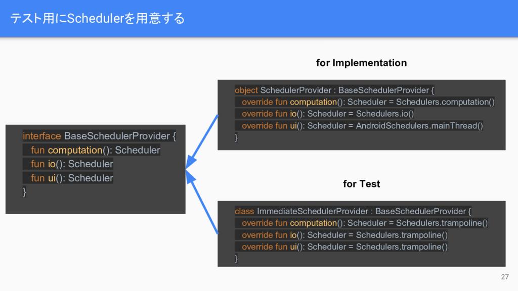 テスト用にSchedulerを用意する 27 interface BaseSchedulerP...