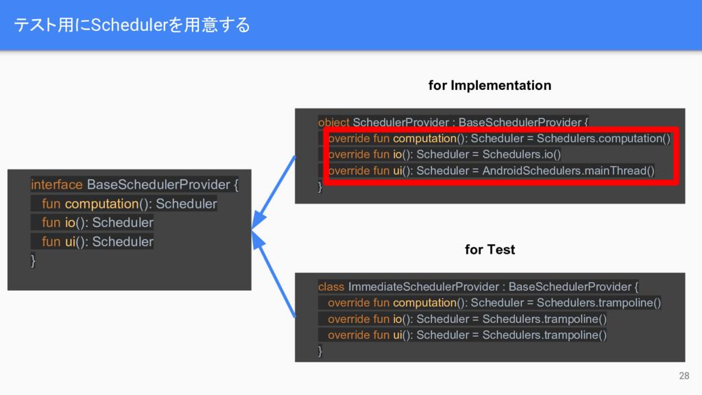 テスト用にSchedulerを用意する 28 interface BaseSchedulerP...