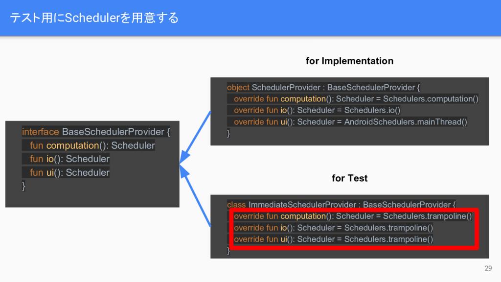 テスト用にSchedulerを用意する 29 interface BaseSchedulerP...