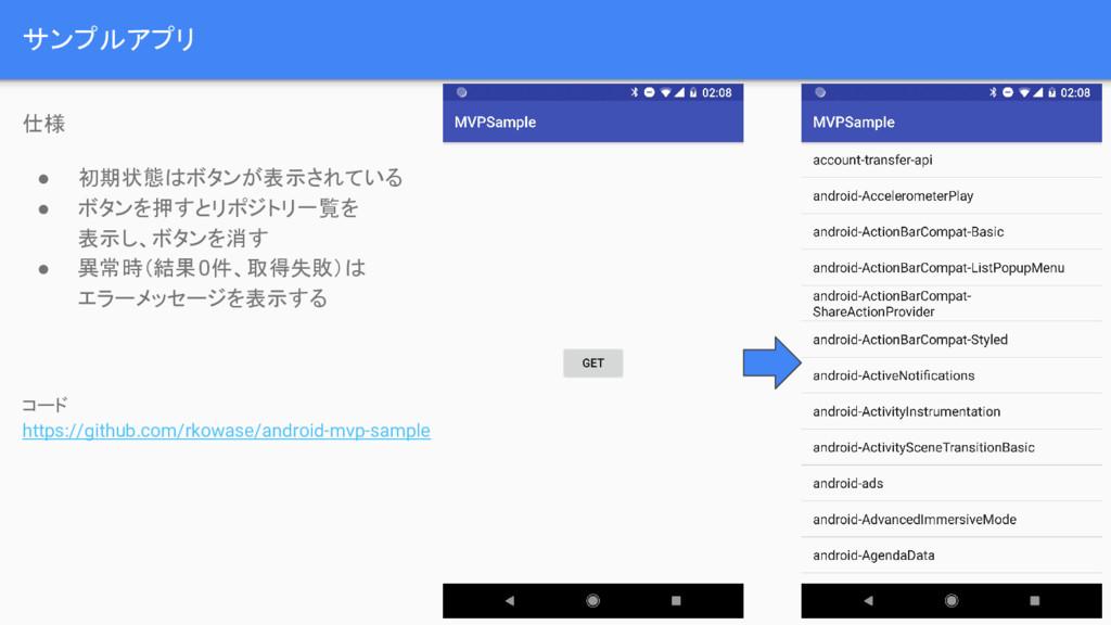 サンプルアプリ 7 仕様 ● 初期状態はボタンが表示されている ● ボタンを押すとリポジトリ一...