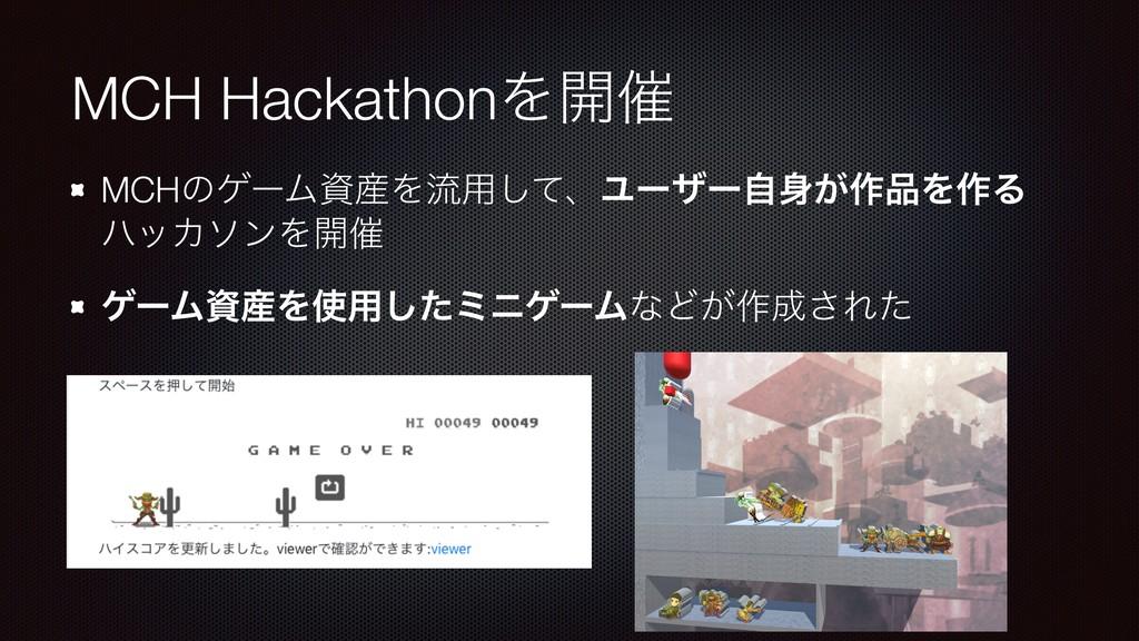 MCH HackathonΛ։࠵ MCHͷήʔϜΛྲྀ༻ͯ͠ɺϢʔβʔ͕ࣗ࡞Λ࡞Δ ϋο...