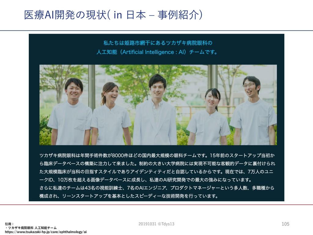 医療AI開発の現状( in ⽇本 ‒ 事例紹介) 引⽤: ・ツカザキ病院眼科 ⼈⼯知能チーム ...