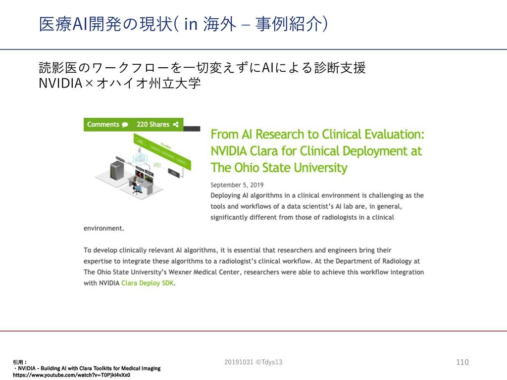 医療AI開発の現状( in 海外 ‒ 事例紹介) 引⽤: ・NVIDIA - Building...