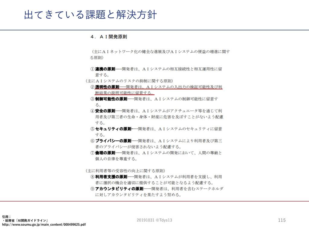 出てきている課題と解決⽅針 115 引⽤: ・総務省「AI開発ガイドライン」 http://w...