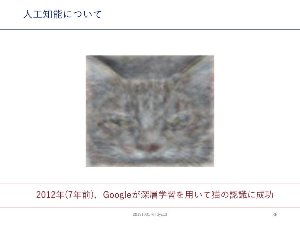 2012年(7年前),Googleが深層学習を⽤いて猫の認識に成功 ⼈⼯知能について 36 2...