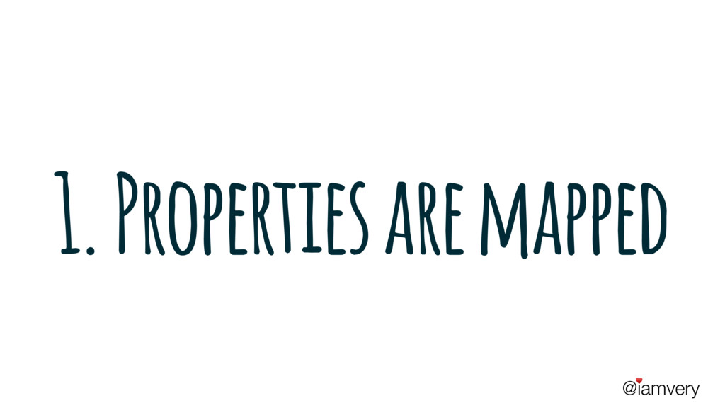 @iamvery ♥ 1. Properties are mapped