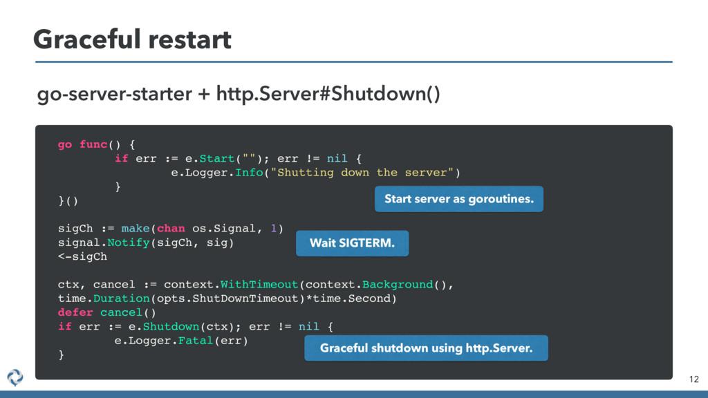 Graceful restart 12 go-server-starter + http.Se...