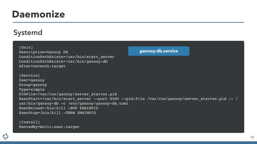 Daemonize 13 Systemd [Unit] Description=Gannoy ...
