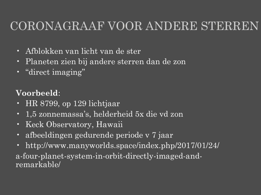 CORONAGRAAF VOOR ANDERE STERREN • Afblokken van...