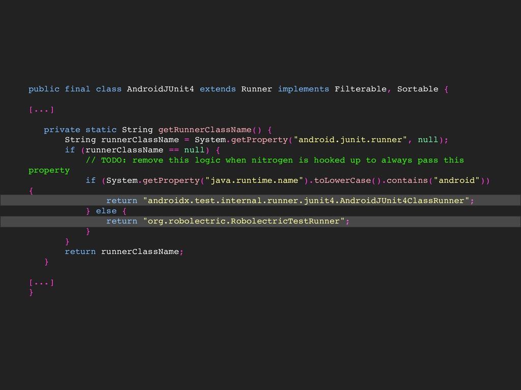 public final class AndroidJUnit4 extends Runner...