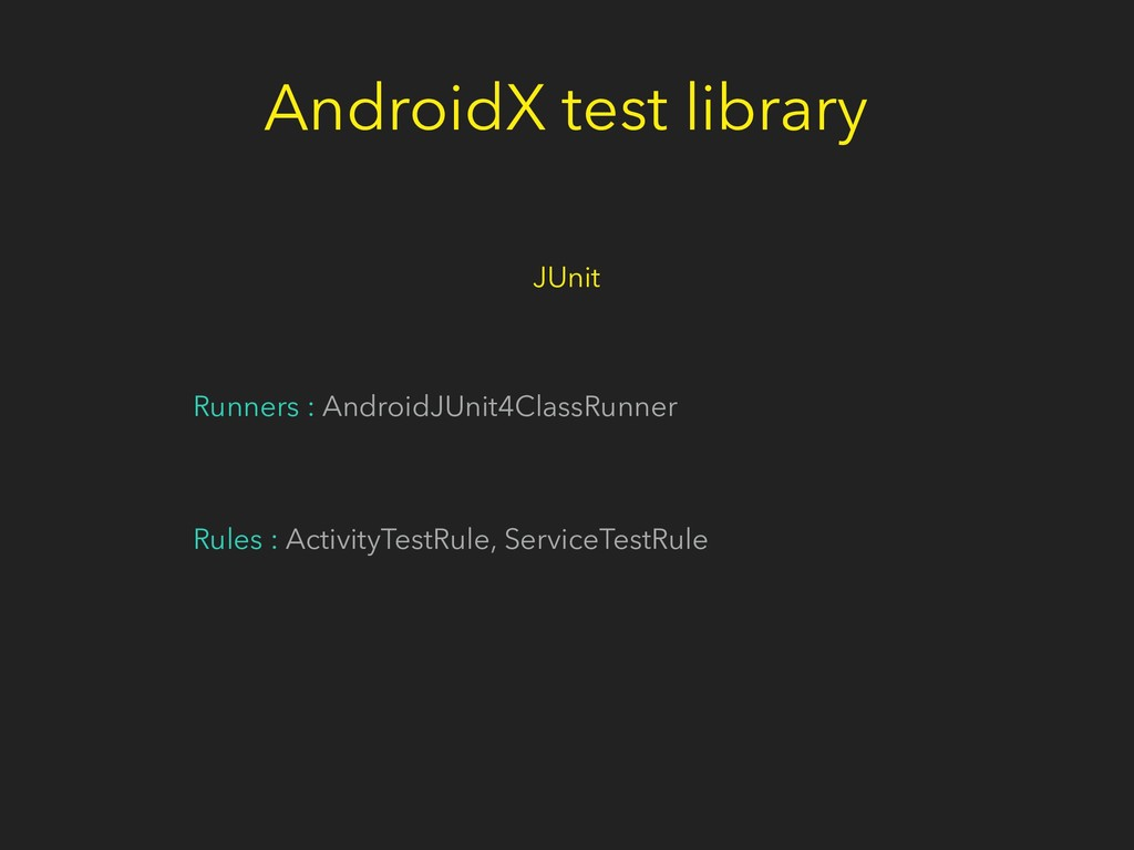 Runners : AndroidJUnit4ClassRunner Rules : Acti...