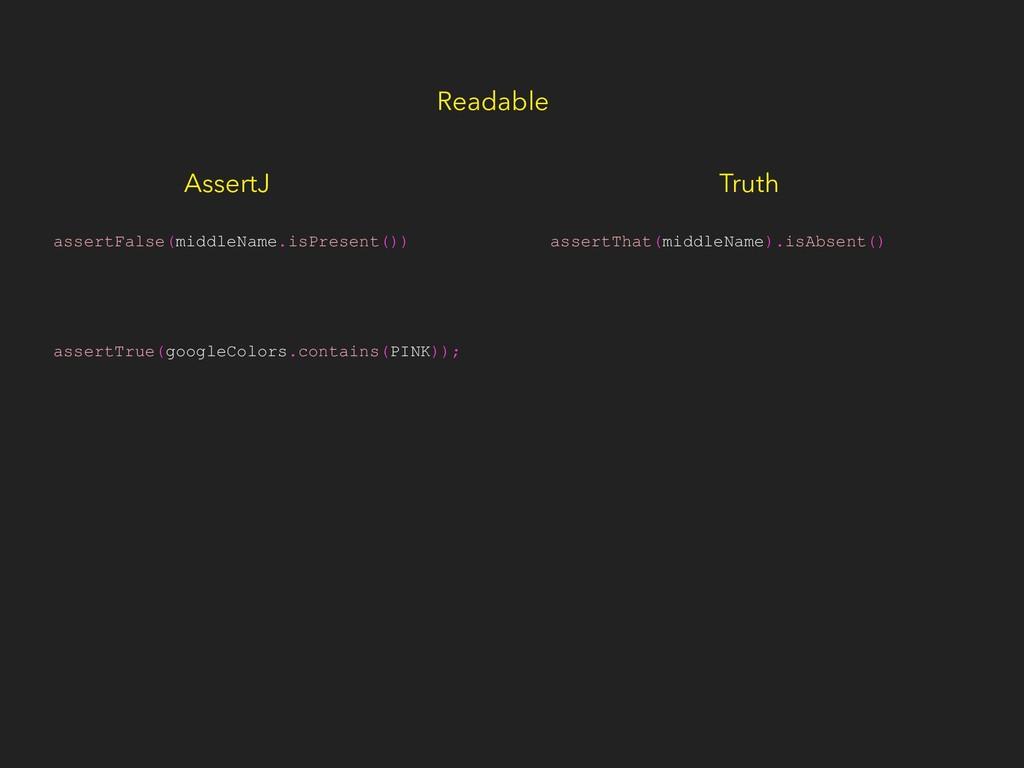 Readable assertThat(middleName).isAbsent() asse...