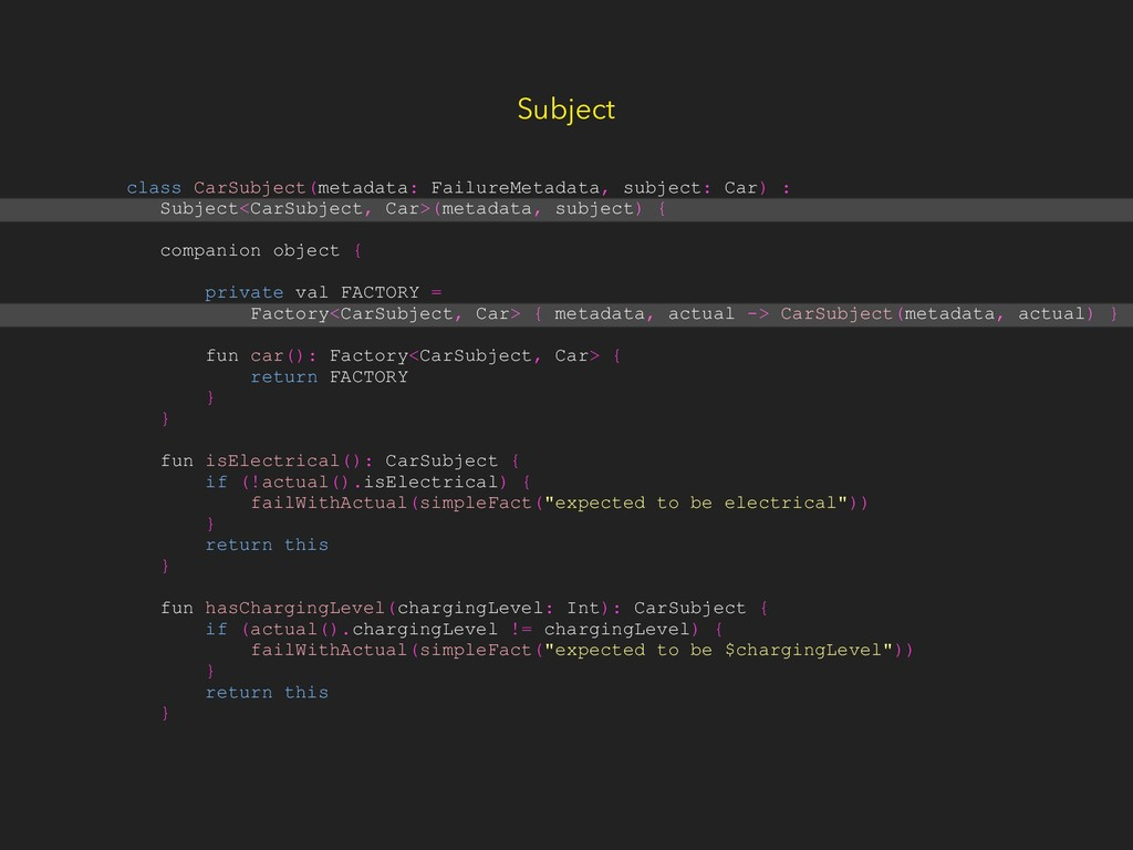 Subject class CarSubject(metadata: FailureMetad...