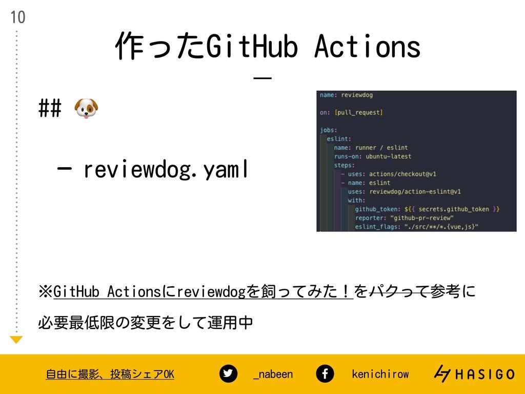 作ったGitHub Actions 10 自由に撮影、投稿シェアOK _nabeen keni...