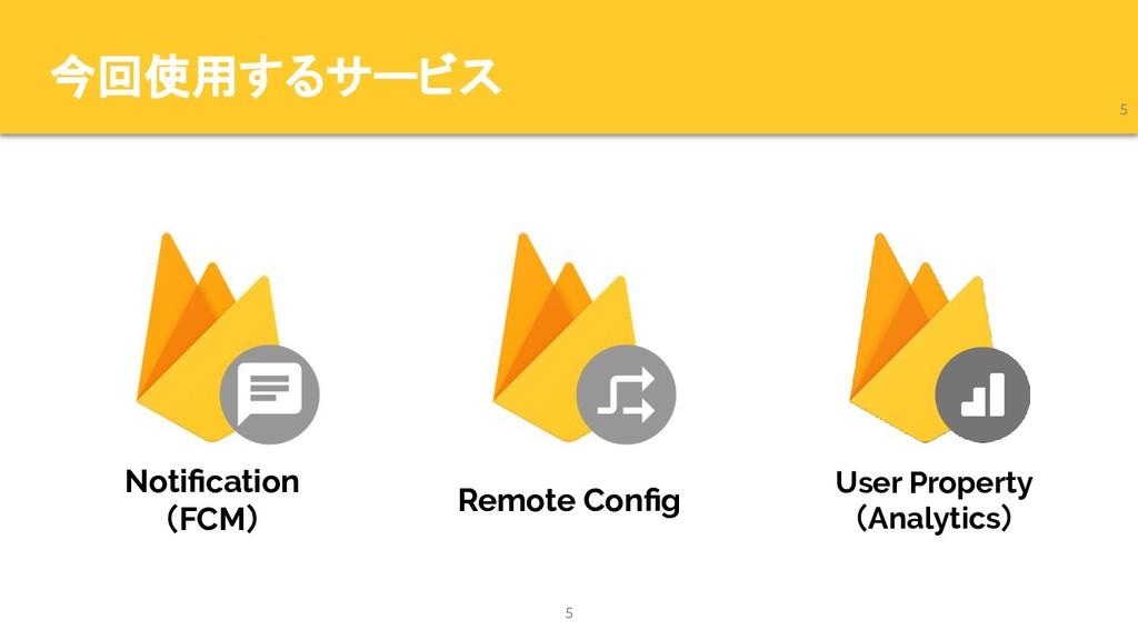 今回使用するサービス 5 5 Notification (FCM) Remote Config U...