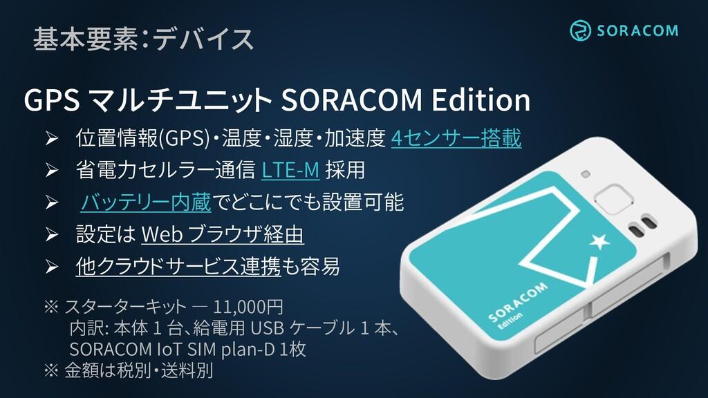 基本要素:デバイス GPS マルチユニット SORACOM Edition ➢ 位置情報(GP...