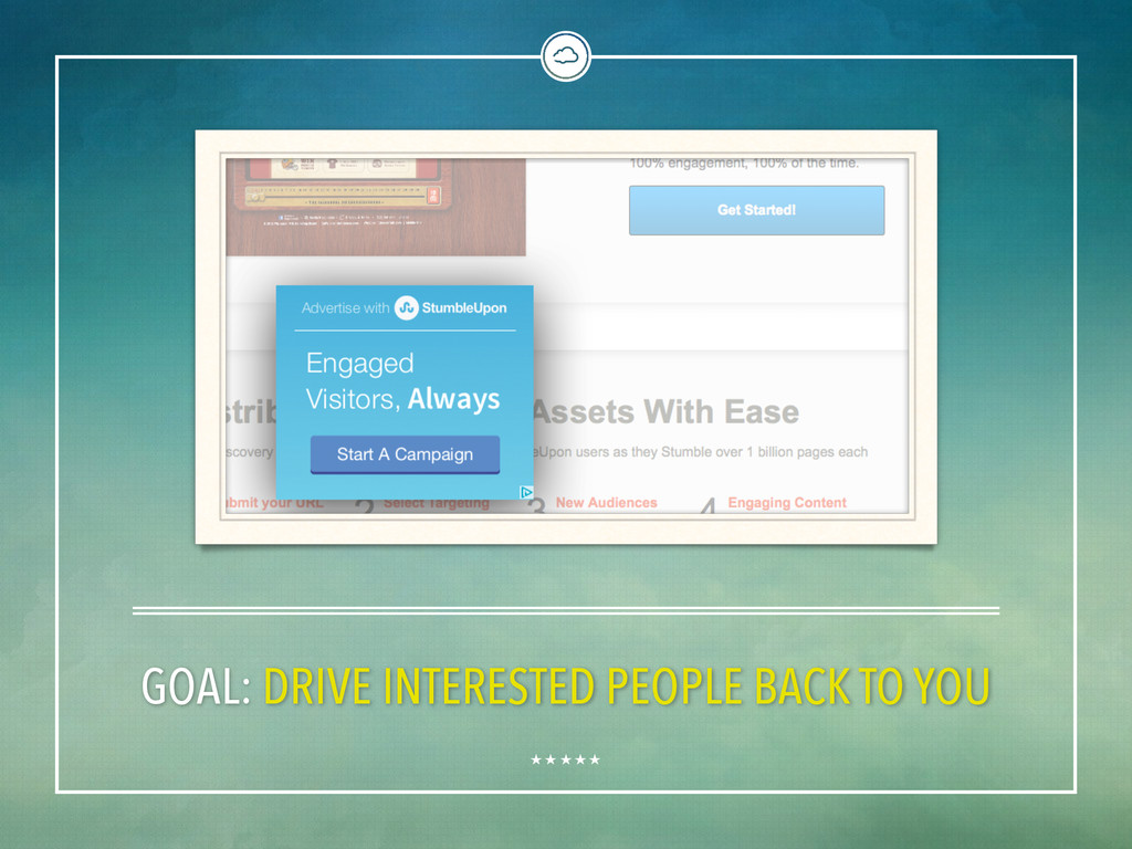 GOAL: DRIVE INTERESTED PEOPLE BACK TO YOU