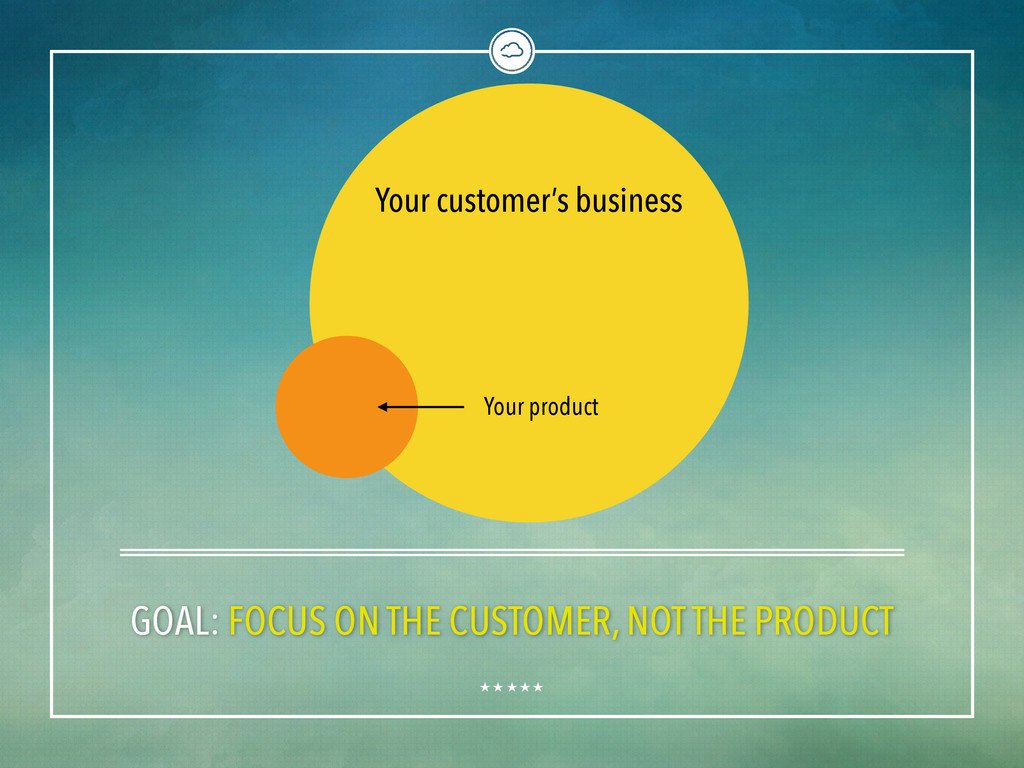 GOAL: FOCUS ON THE CUSTOMER, NOT THE PRODUCT Yo...