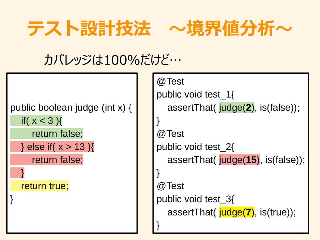 テスト設計技法 ~境界値分析~ public boolean judge (int x) { ...
