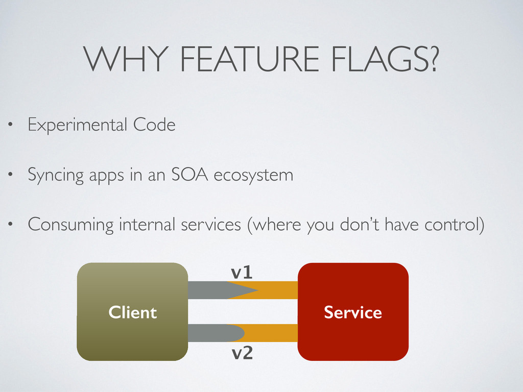 WHY FEATURE FLAGS? • Experimental Code  • Syn...