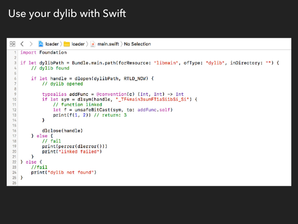 Use your dylib with Swift