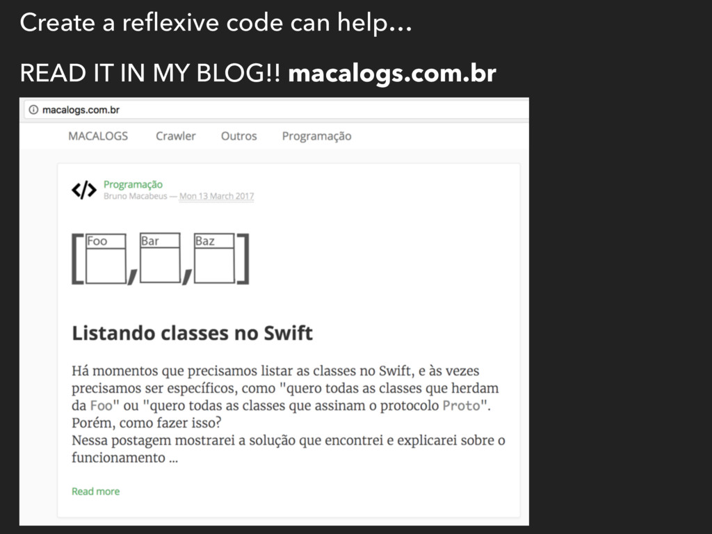 Create a reflexive code can help… READ IT IN MY ...