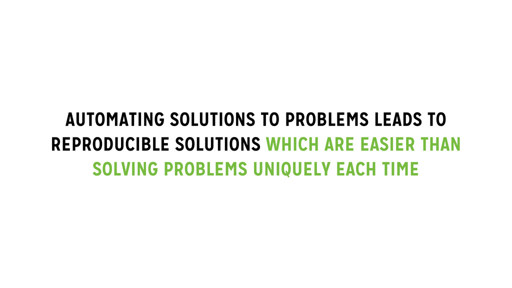 AUTOMATING SOLUTIONS TO PROBLEMS LEADS TO REPRO...