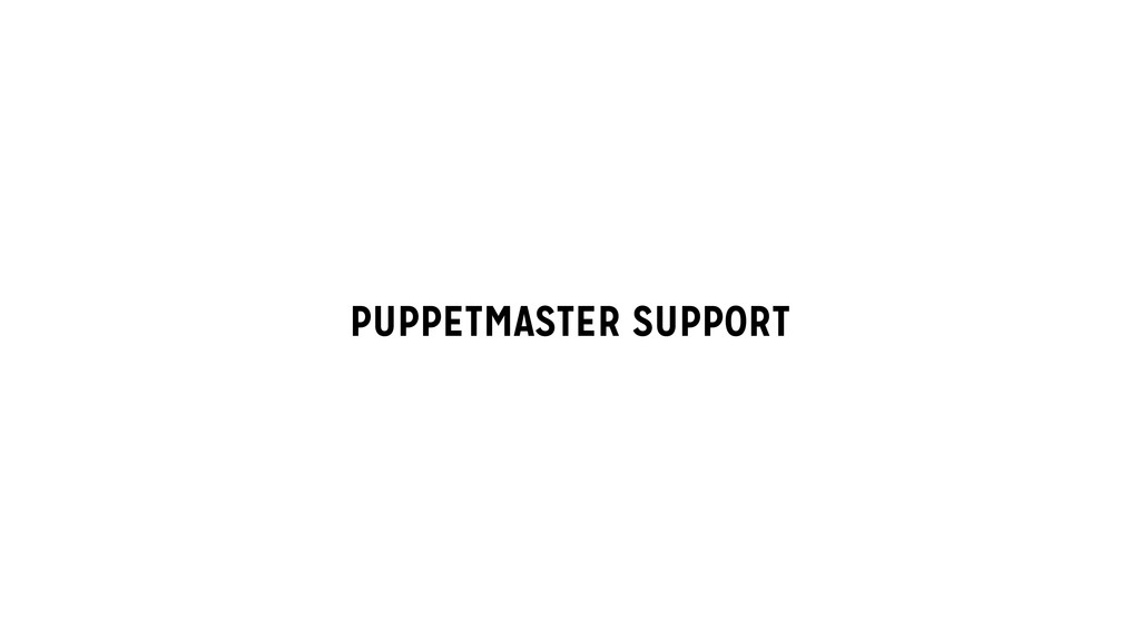 PUPPETMASTER SUPPORT