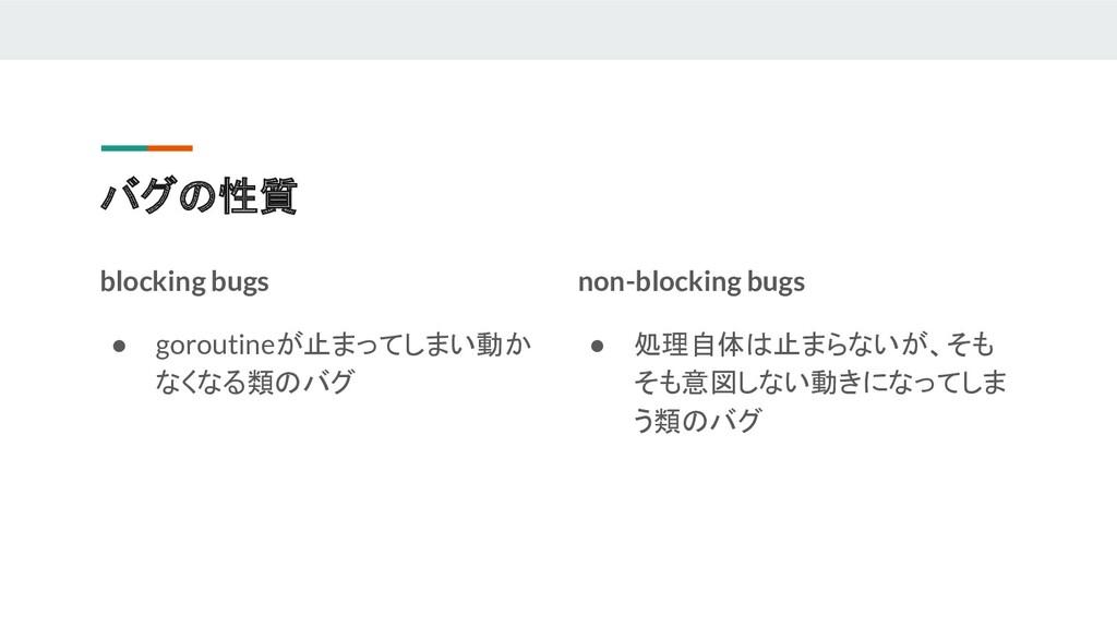 バグの性質 blocking bugs ● goroutineが止まってしまい動か なくなる類...