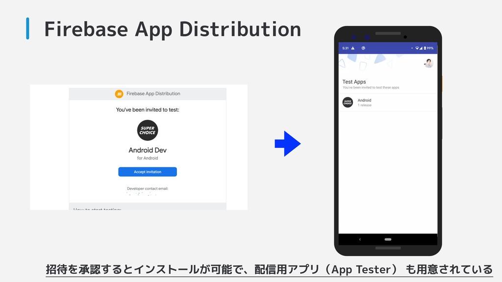 Firebase App Distribution 招待を承認するとインストールが可能で、配信...