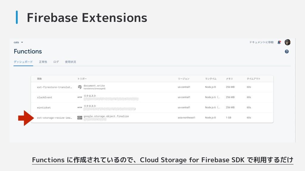 Firebase Extensions Functions に作成されているので、Cloud ...