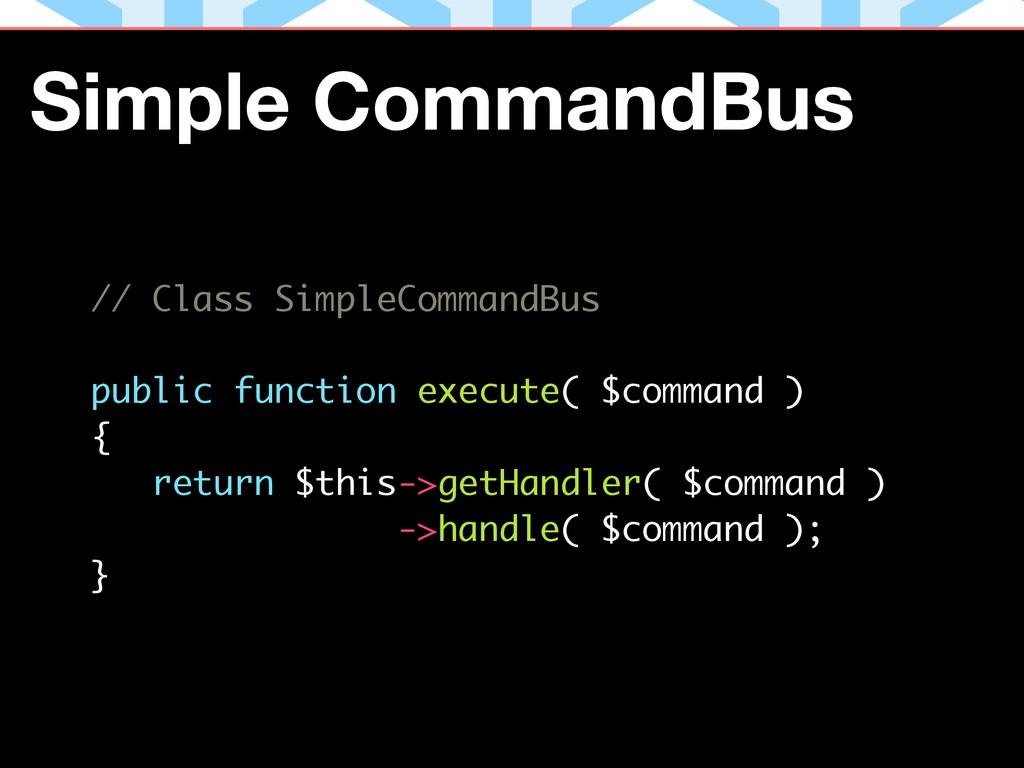 // Class SimpleCommandBus ! public function exe...