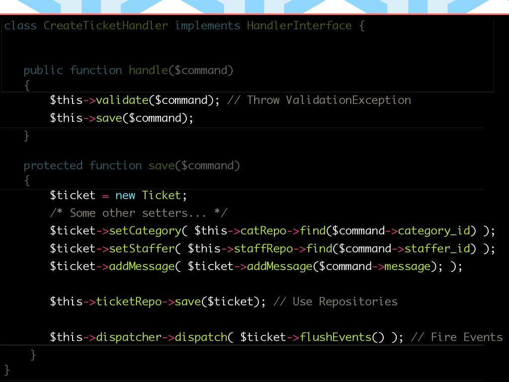 ! class CreateTicketHandler implements HandlerI...