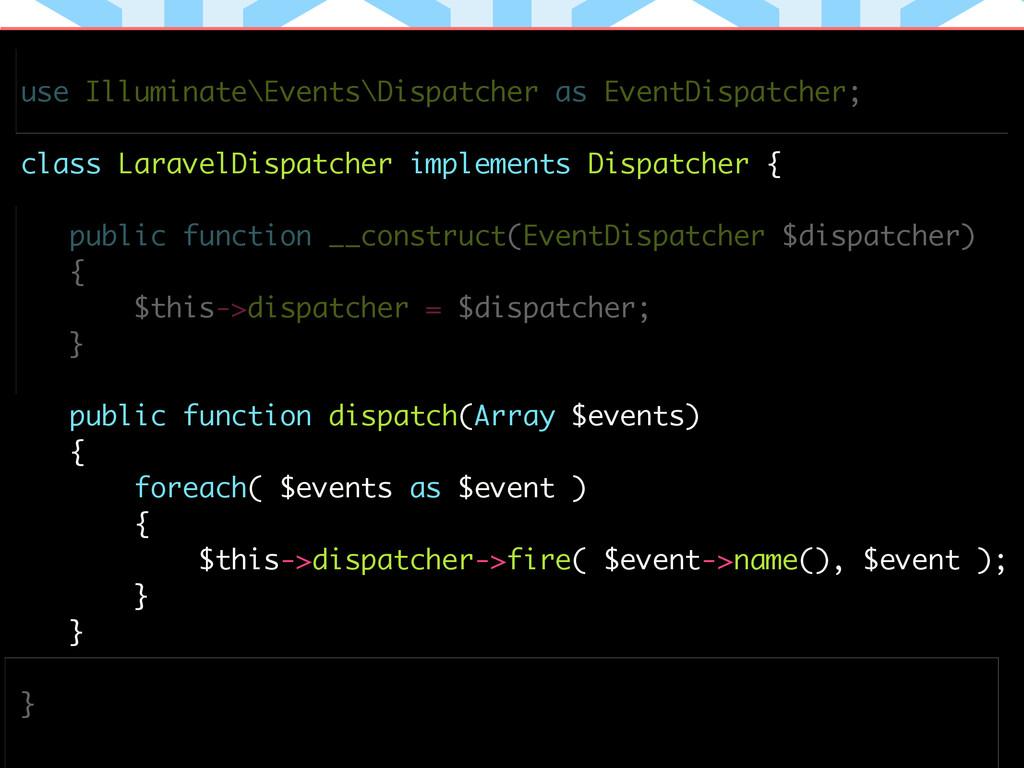 use Illuminate\Events\Dispatcher as EventDispat...